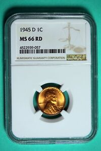 1945 D NGC MS66 RD Lincoln Wheat Cent #B25770