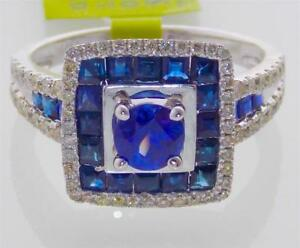 2.42CTW NATURAL BLUE SAPPHIRE AND DIAMOND RING IN 14K WHITE GOLD