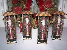 Lot (4) Christmas Santa Holiday Lantern Candle Holder Table Decor Shipped FREE