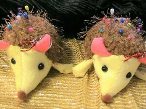 """HEDGEHOG PINCUSHION 5"""" wide x 3"""" tall with beaded pins for sewing~cute as can be"""