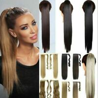 Long Clip in Ponytail Hair Extensions Extention Natural as Human Straight Wavy