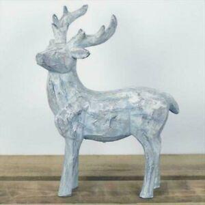 Medium Reindeer Stag Christmas Ornament Grey Wash Carved Wood Effect ecoration