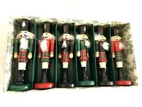 "Bombay Company Set Of 6 Wooden Nutcracker Soldiers 5""Place Card Holders in box"