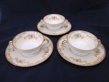 Noritake Oberon Footed Cream Soup Bowls w/ Saucers Set of 3