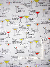 Martini Alcohol Drink Recipe Cotton Fabric Kanvas Studio Shaken Stirred - Yard
