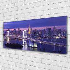 Tulup Glass print Wall art 125x50 Image Picture Bridge City