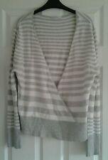 Waist Length Striped Wrap Tops for Women
