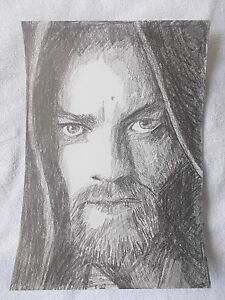 A4 Art Graphite Pencil Sketch Drawing Ewan Mcgregor as Obi Wan Kenobi Star Wars
