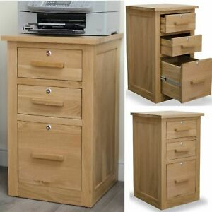 Arden solid oak lockable three drawer filing cabinet home office furniture