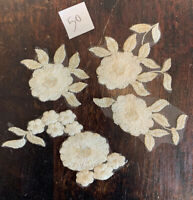 Cream and Antique Gold Floral Embroidered Tulle  Appliqué Lace Pieces Sew On 50