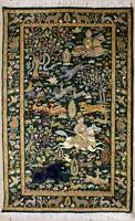 Rugstc 3x5 Senneh Pak Persian Green Rug,Hand-Knotted,Pictorial Hunting,Silk/Wool