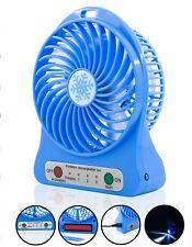 Portable & Rechargeable BatT18650 LED Fan Air Cooler Mini BLOWER Desk USB TRAVEL