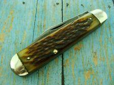 BIG VINTAGE BONE SLEEVE BOARD JUMBO JACK FOLDING POCKET KNIFE KNIVES TOOLS OLD