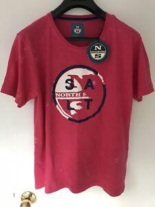 North Sails Men T-Shirt Crew Neck Pink New (M)