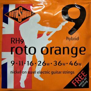 Rotosound Electric Guitar Strings Nickel Steel Roto Oranges RH9 9 Gauge
