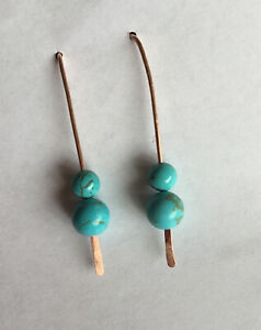 Pure Copper And Turquoise Bead Earrings