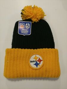NFL Pittsburgh Steelers Sock Cap with  Yellow Poof Tassel NWT