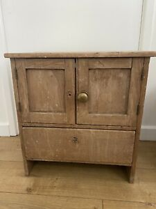 Small Very Sweet Antique Pine Cupboard With Drawer Child's Bedroom Bedside Table