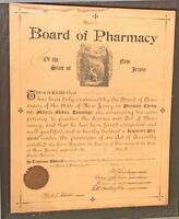 Antique Medical Dr.Of Pharmacy Official Certification For New Jersey Dated 1896