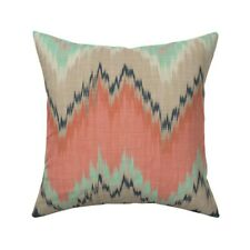 Ikat Chevron Mint Coral Navy Throw Pillow Cover w Optional Insert by Roostery