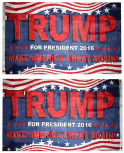 3x5 USA Trump 2016 Make America Great Double Sided 3ply Nylon Liner Flag 3'x5'