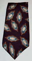LIBERTY OF LONDON Purple Blue Tan Beige Medallion 100% Silk Tie Made in USA