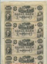 Scarce!1850's $100 Canal Bank  & Banking Company 4 Note Uncut Sheet Unc!