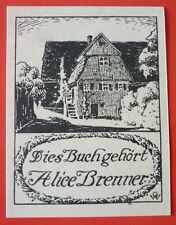 """Exlibris, Bookplate """" Alice Brenner """" Haus, Gebäude"""