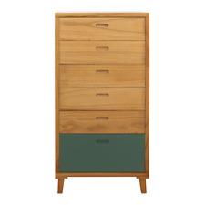Mobili Rebecca® Highboard Schrank 6 Schubladen Holz Braun Weiß Grün Design Moder