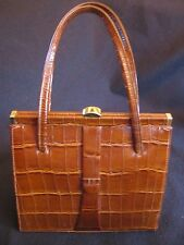 VINTAGE ELBIEF 'GRACE KELLY' STYLE HANDBAG in REAL CROCODILE + SUEDE INNER c.60s