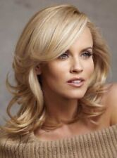 Natural Medium Wavy Blonde Layered Hairstyle Synthetic Wig