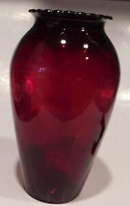 "Vintage Large 9""  Anchor Hocking Royal Ruby Red Glass Vase"