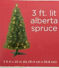 "3 Ft Christmas Alberta Spruce Tree 125 Tips 35 Clear Light 3 ft X 20"" Fake"