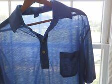 Vtg 80s Towncraft Blue Surf Skate Long Fit Paper Thin Burnout Polo Shirt M L
