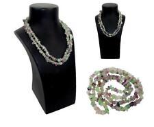 Hand Crafted Semi-Precious Green & Purple Fluorite Chip Stone 90cm Long Necklace