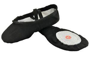 Ballet Dance Gymnastic Yoga Shoes Split Sole Black