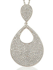 SUZY LEVIAN White CZ Pave Sterling Silver Tear-Drop Dangle Hang Pendant  & Chain