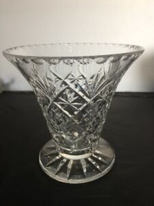 Vintage Deep Cut Lead Crystal  Flower Vase fluted