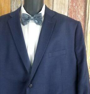 Jos A. Bank Men's Tailored Fit Wool Blue Check Sport Coat Jacket 54 Regular