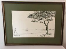 Boat on Lake Art Signed and Framed Lithograph