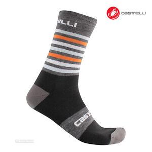Castelli GREGGE 15 Wool Cycling Socks : DARK GREY/ORANGE - One Pair