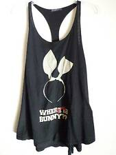 Wildfox  racer back black loose muscle tank top  bunny headband design SZ M