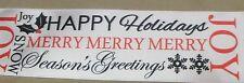 "5 Yds White Holiday Greetings Print Single Face Satin Ribbon 2 1/4"" W"