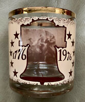 8 - Vintage 1776-1976 BICENTENNIAL Old Fashioned Glass Gold Rim 11oz MINTY