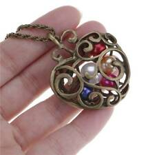 Long Pendant Sweater Chain Necklace o Women Gift Hollow Heart Carved Bead Retro