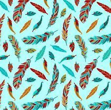 Fabric Native American Dreamcatchers Feathers on Turquoise Cotton by 1/4 yard