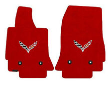 NEW! Adrenaline Red FLOOR MATS 2014-2019 CORVETTE C7 Flags Logo  Embroidered