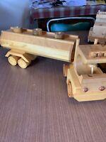 "Handmade Wooden Toy Truck, Tanker Truck Trailer. 20"" Long"