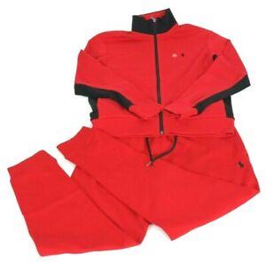 NEW Polo Ralph Lauren Track Jacket & Jogger Pant Set Red Black Men's, Large