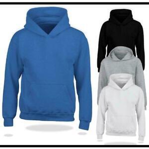 Plain Hoodie Hooded Kids Boys Warm Classic Pullover Jumper Unisex Gift Hoodies